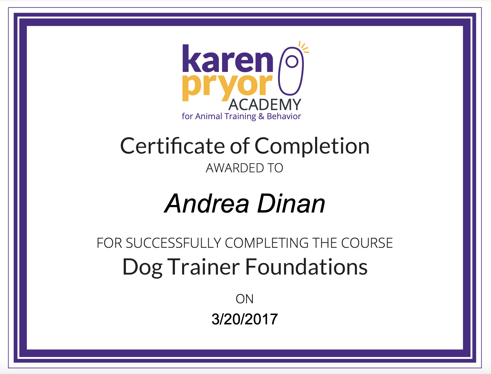 Dog Trainer Foundations - Andrea Dinan