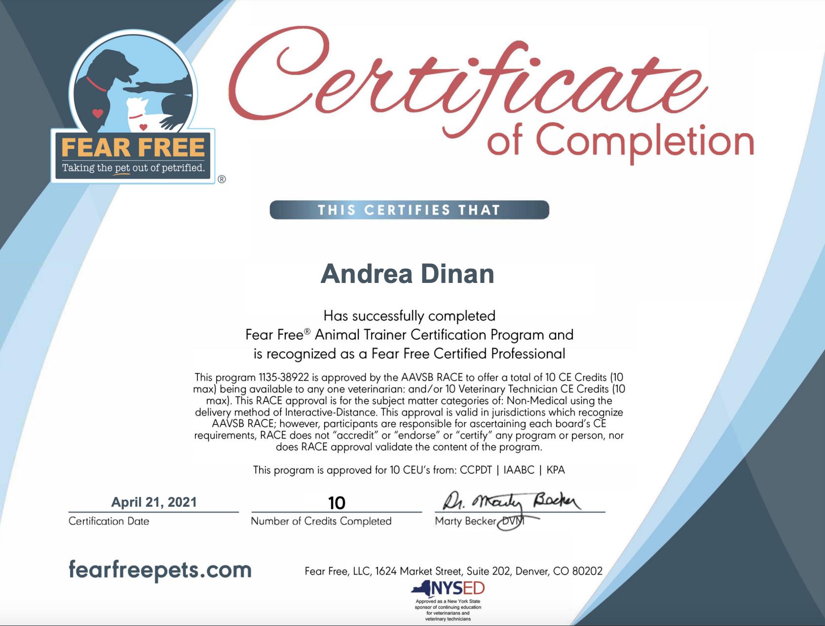 Fear Free Certified - Andrea Dinan